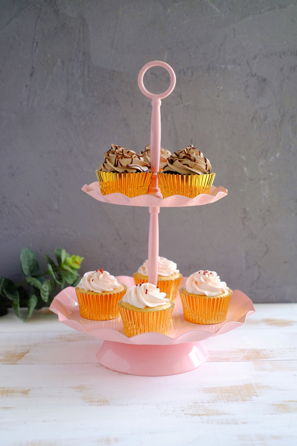 2 Tier Pink Cupcake Stand