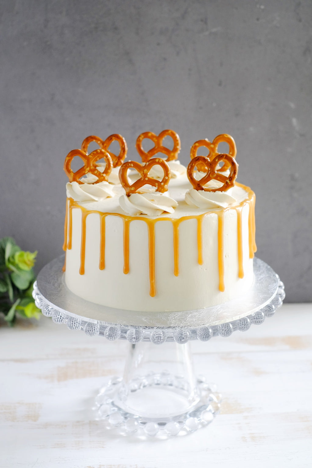 Chocolate Caramel Cake with Mini Pretzel Biscuit