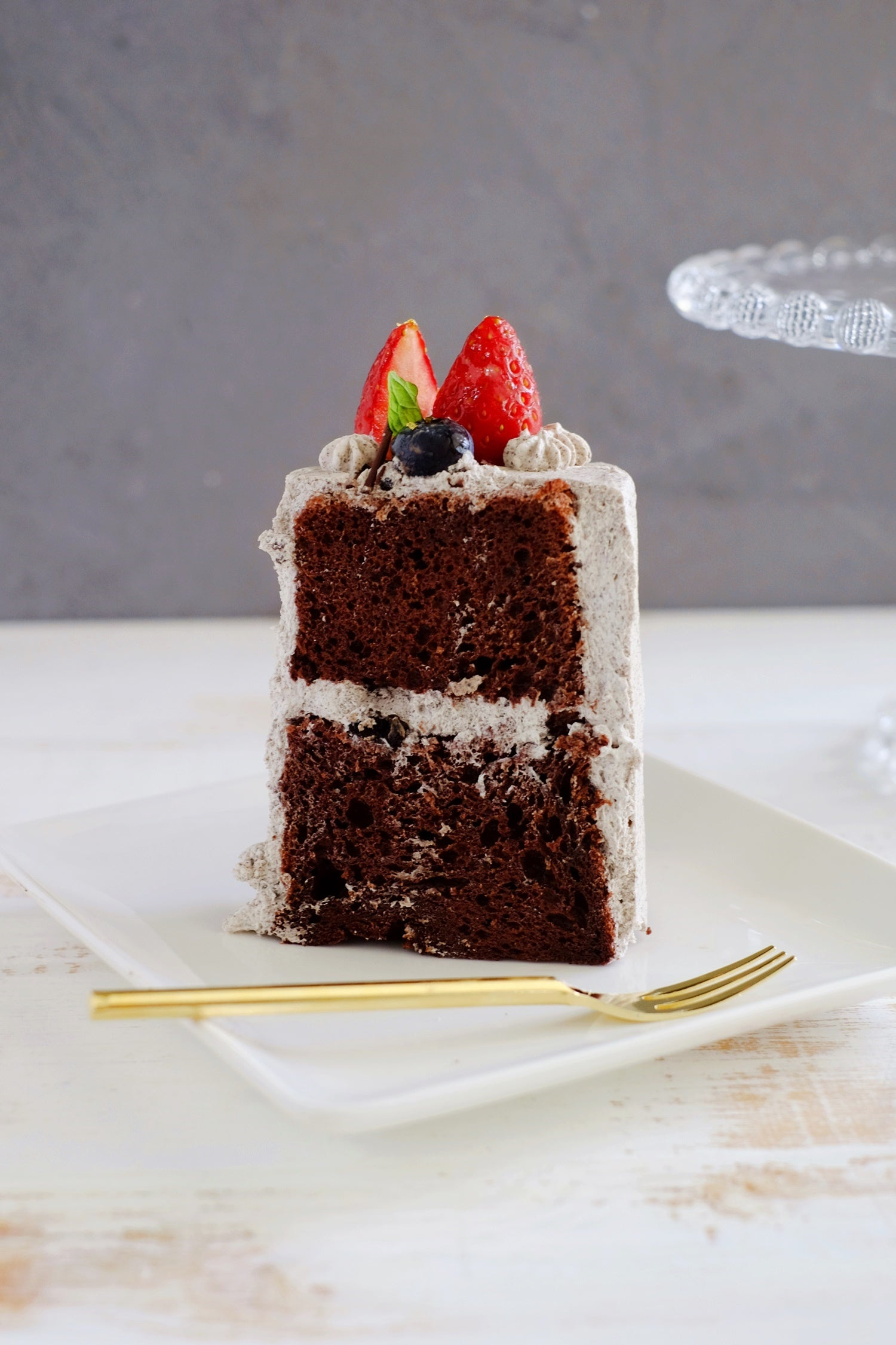 Slice of Oreo Chocolate Chiffon Cake