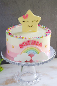 Starry Ombre Rainbow Number Cake