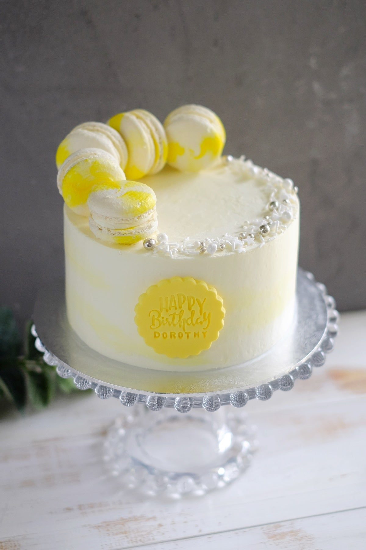 Yellow Sunshine Watercolor Swirl Macaron Cake