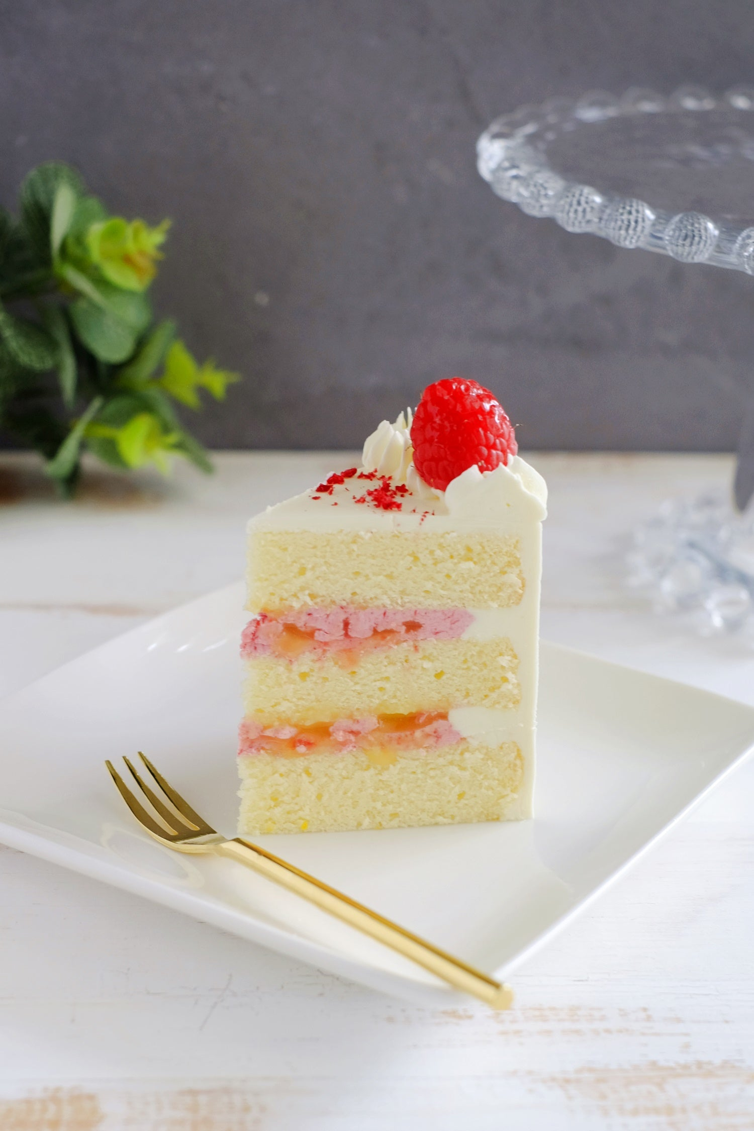 Slice of Raspberry Lemonade Cake