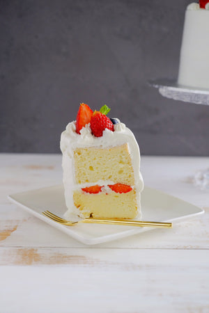 Slice of Strawberry Chiffon Cake