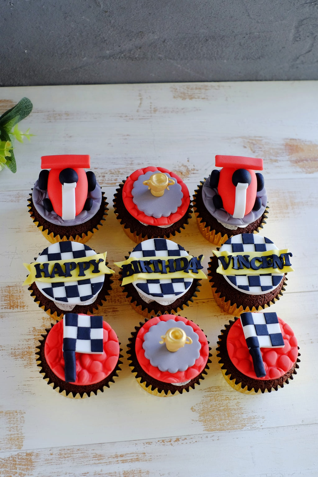 Racing Car Theme Fondant Cupcakes