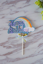 Blue Glitter Rainbow Paper Topper