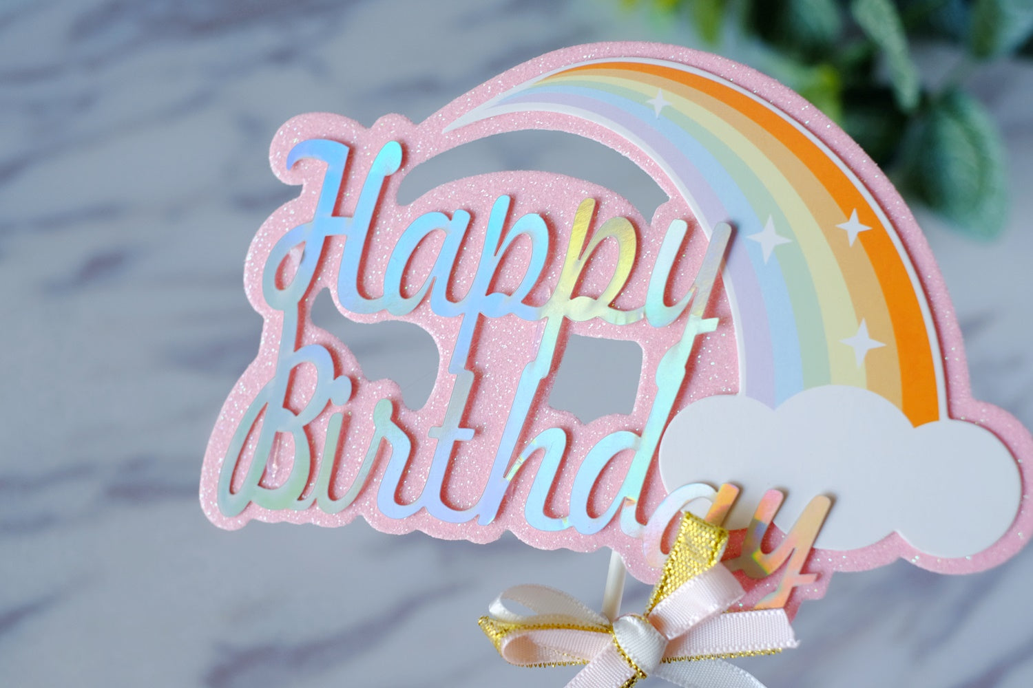 Pink Glitter Rainbow Paper Topper