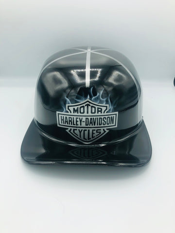 Custom Painted Doughboy Lid - Harley Davidson Shield & Flames (Silver & Black)
