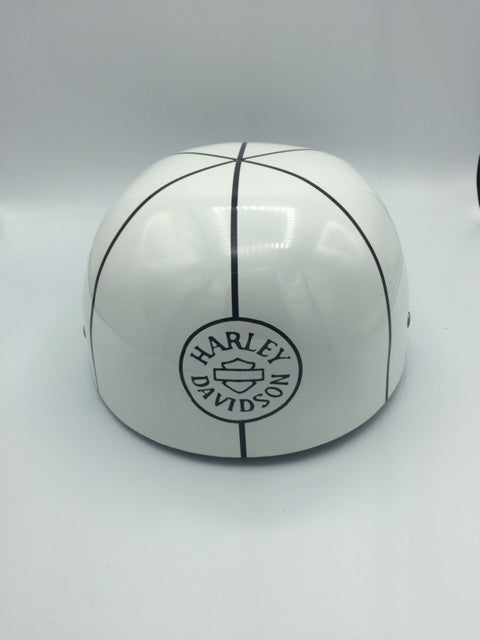 ***SOLD***Custom Painted Doughboy Lid - Black and White Harley Shield and Patch