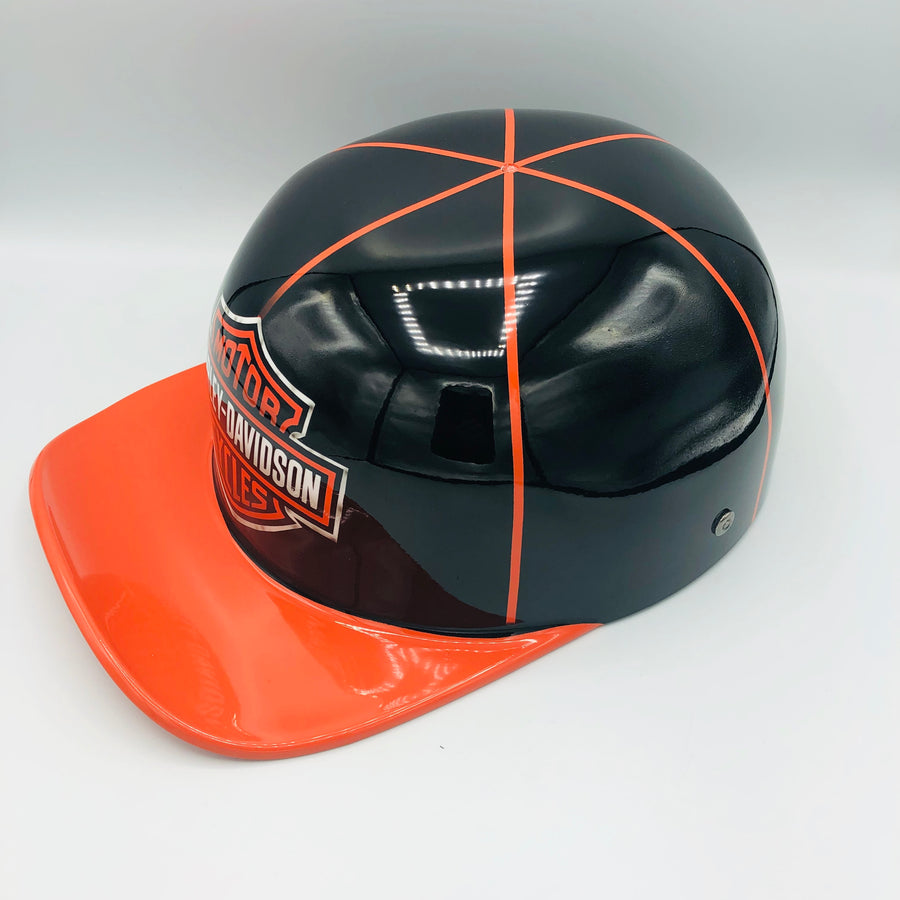 ***SOLD***Custom Painted Doughboy Lid - Harley Davidson Shield & Flames (Orange & Black)