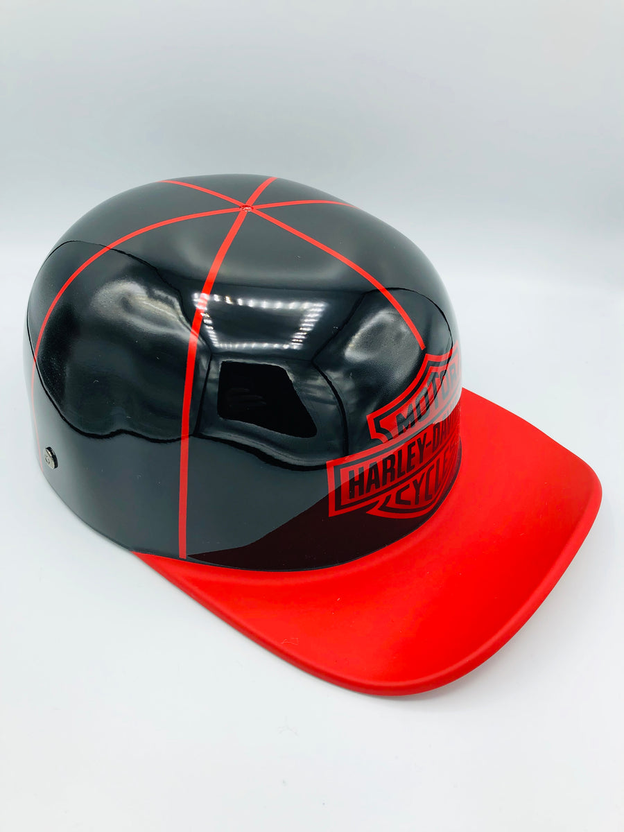 ***Sold***Custom Painted Doughboy Lid - Harley Davidson Shield  (Matte Red Lid &  Gloss )