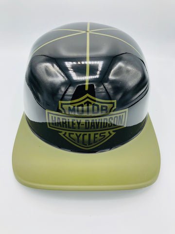 ***SOLD***Custom Painted Doughboy Lid - Harley Davidson Shield  (Matte Green Lid &  Gloss )