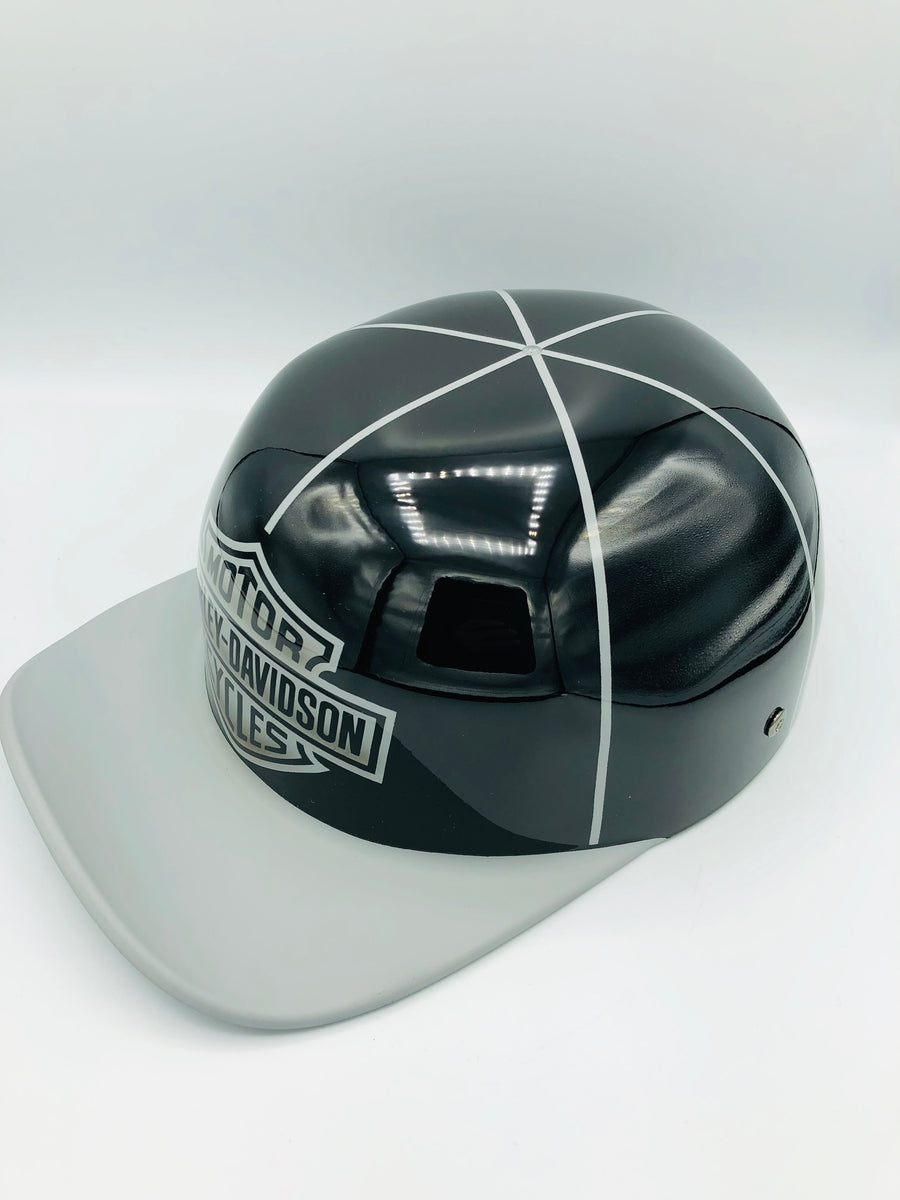 ***SOLD***Custom Painted Doughboy Lid - Harley Davidson Shield  (Matte Grey Lid & Gloss )