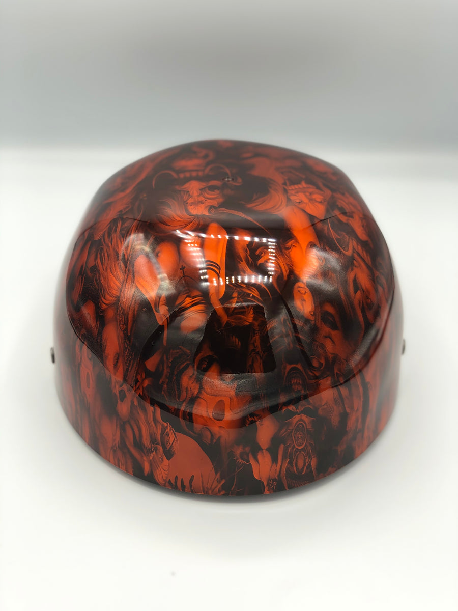 Hydrodipped Doughboy Lid - Orange Beauties & Devils