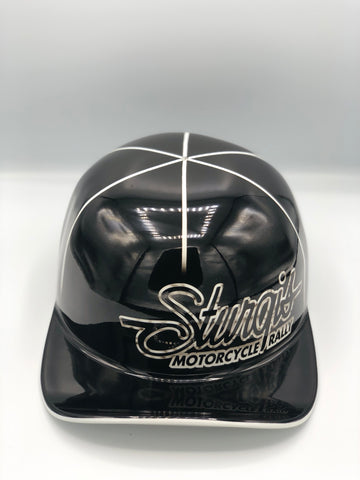 Custom Painted Doughboy Lid - Sturgis Black with white pinstripe