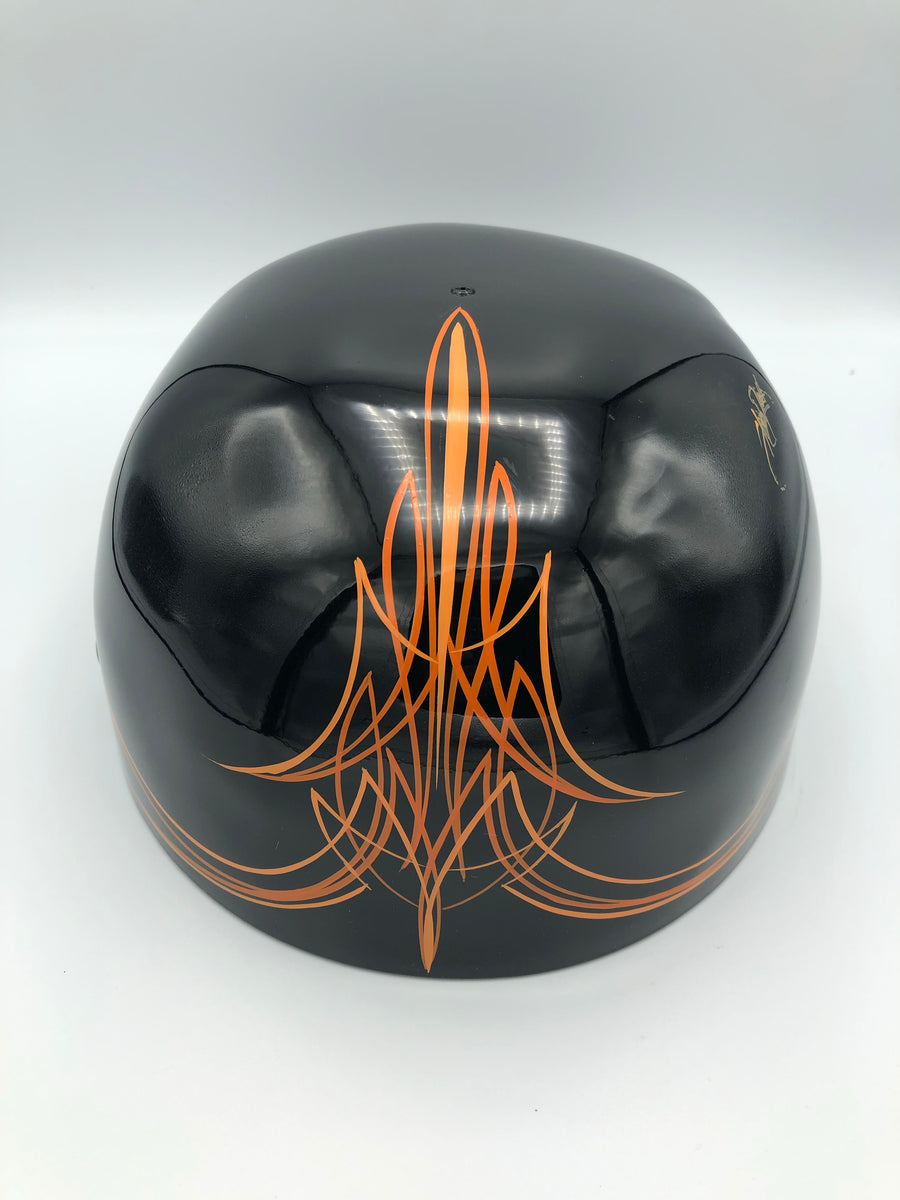 ***SOLD***Custom Painted Doughboy Lid -  Harley Patch Orange Pinstriped