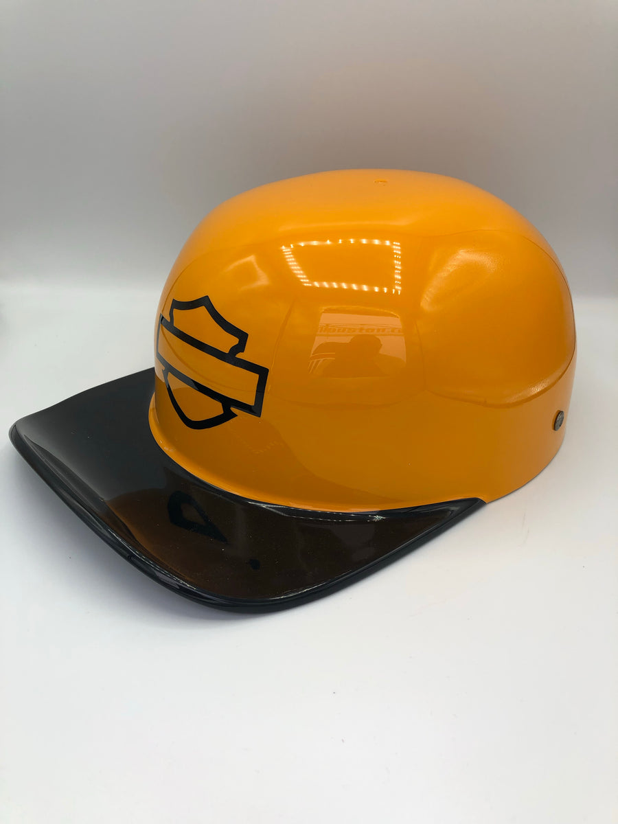 Custom Painted Doughboy Lid - Yellow/Orange and Black Harley Shield