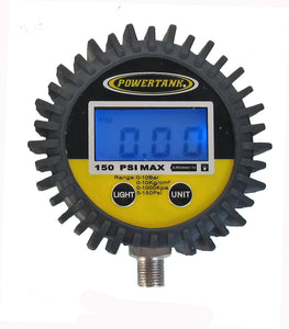 Digital Tire Inflator Gauge 150 PSI 2.5 Inch Diameter 1/8 NPT Threads Lower Power Tank
