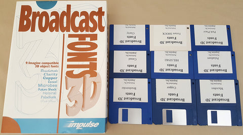 Broadcast Fonts 3D for Imagine 3D - 1991 Impulse Inc. for Commodore Amiga