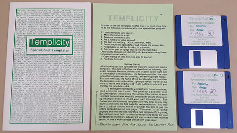 Templicity v1.5 MaxiPlan Spreadsheet Templates - 1988 The Sterling Connection for Commodore Amiga