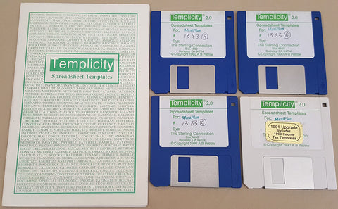 Templicity v2.0 MaxiPlan Spreadsheet Templates - 1990 The Sterling Connection for Commodore Amiga