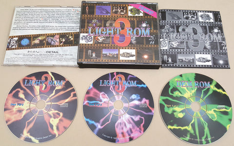 Light-ROM 3 CD's - 1995 Graphic Detail for Commodore Amiga LightWave 3D DEMs