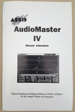 AudioMaster IV Manual Addendum 1991 Aegis Oxxi for Commodore Amiga