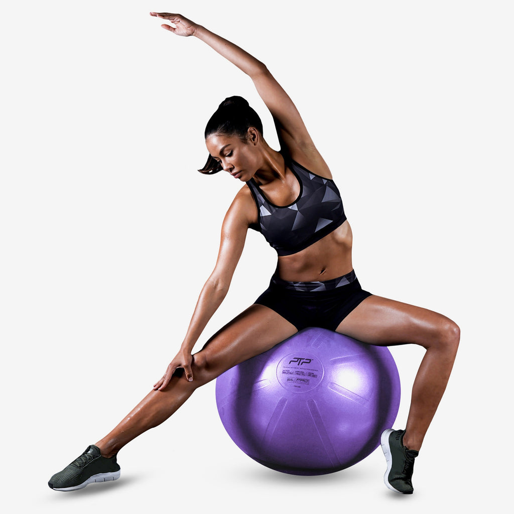 Exercise Ball by PTP | 55 cm Pearl Violet CoreBall | Side Stretch Exercise