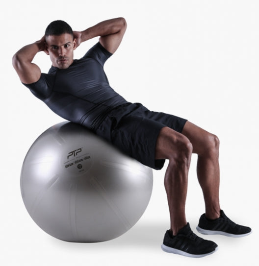 PTP CoreBall Steel Grey 75 cm | Oblique Crunch Exercise