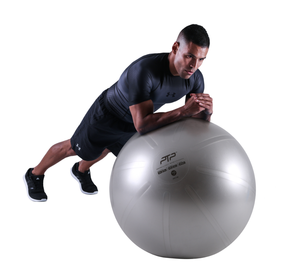 Plank Exercise on PTP 75 cm CoreBall in Steel Grey