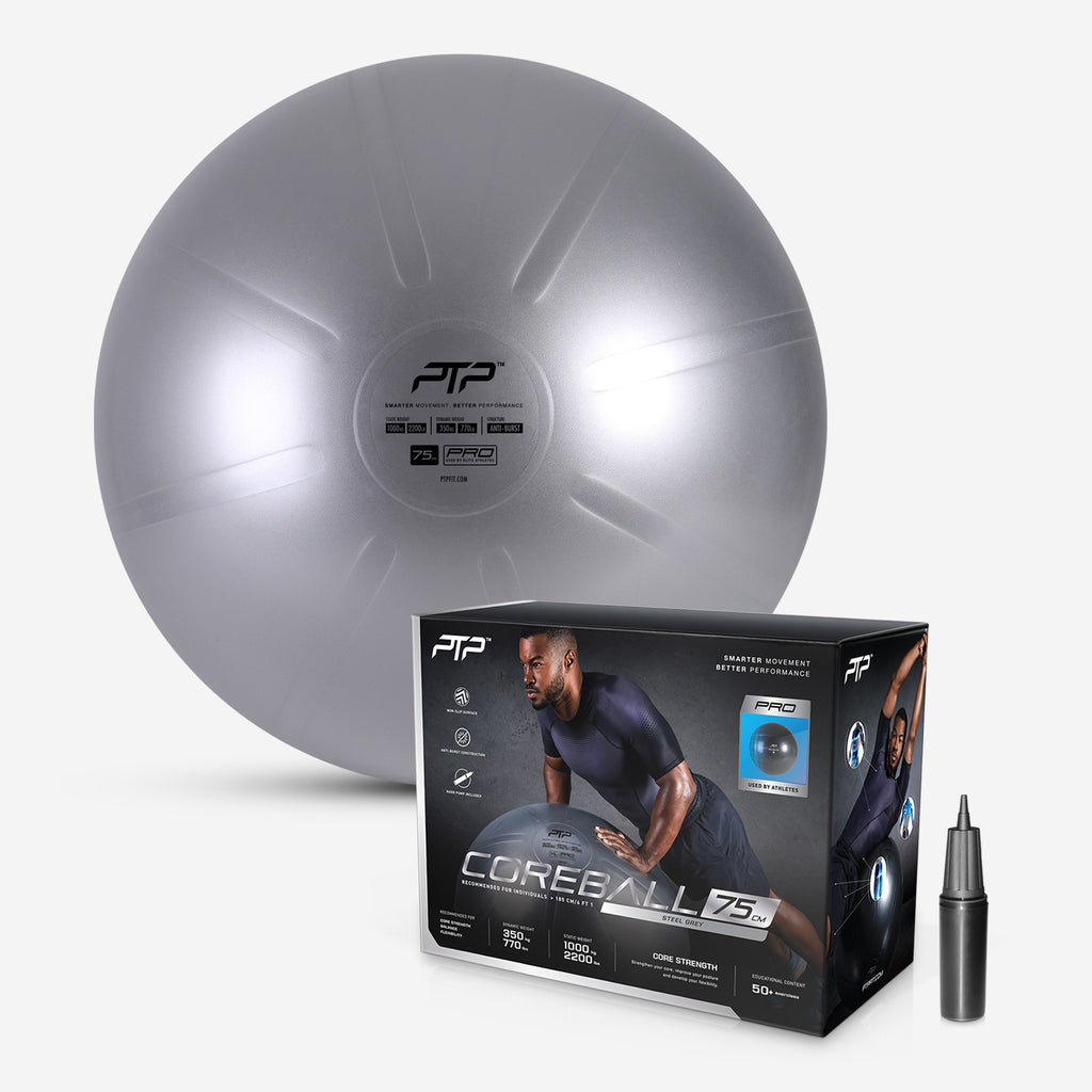 PTP Steel Grey CoreBall with Manula Pump Included & Exercises to Build a Strong Core