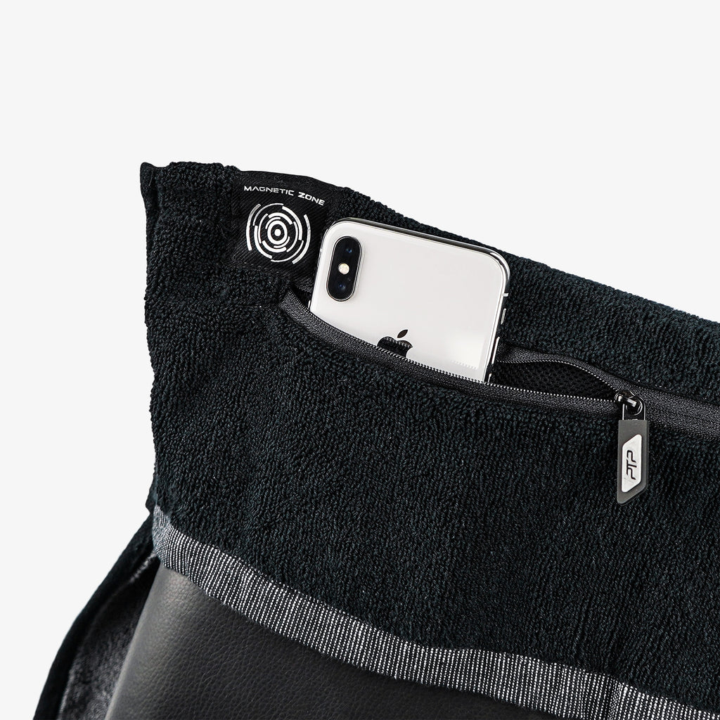PTP Towel X Black | Perfect Storage Solution for Phone, Keys & Cards