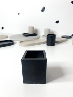 Square Concrete Tealight - Black