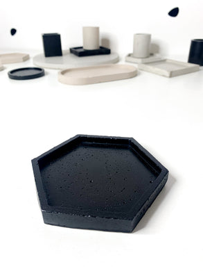 Hexagon Concrete Coaster - Black