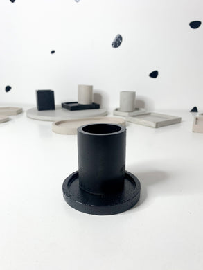Round Concrete Tealight - Black