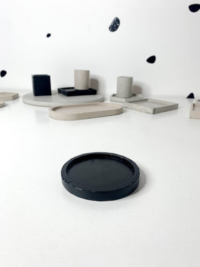 Round Concrete Coaster - Black (Small)