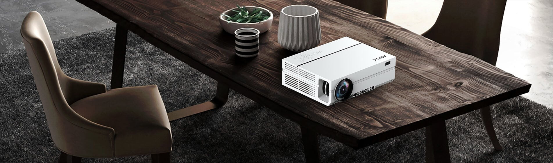 ABOX A6 LCD Projector on Table
