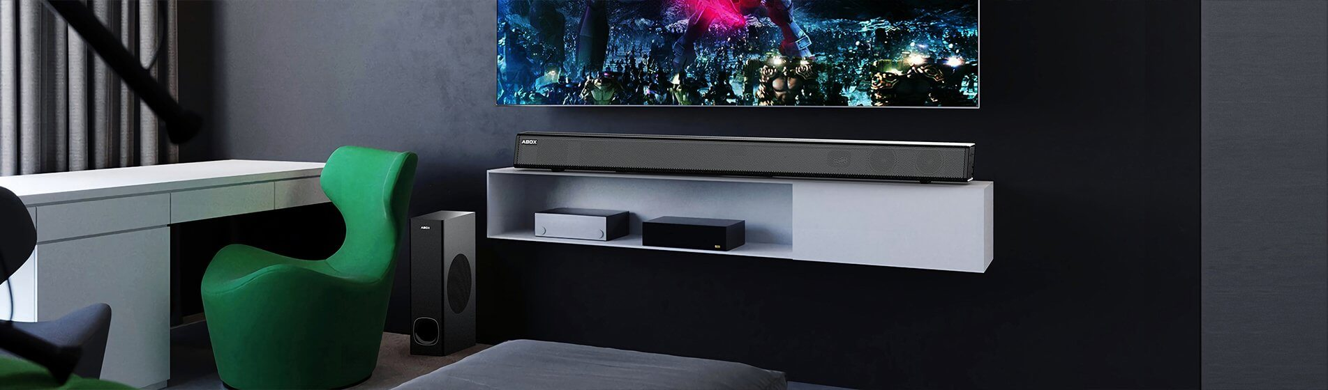 ABOX Soundbar and Subwoofer In Living Room