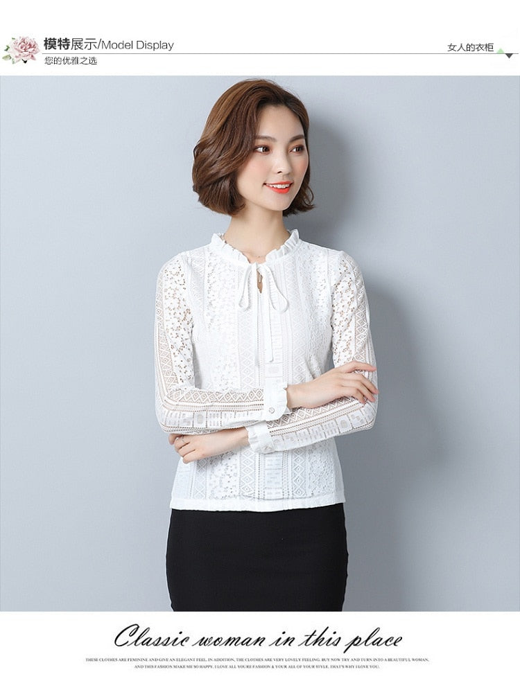 d7a5e54c5c ... Womens Tops And Blouses Chiffon Lace Blouse Autumn Long Sleeve Elegante Women  Shirts Ladies Office Shirt ...