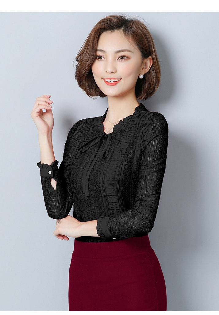 a30fd7b6d1b Womens Tops And Blouses Chiffon Lace Blouse Autumn Long Sleeve ...