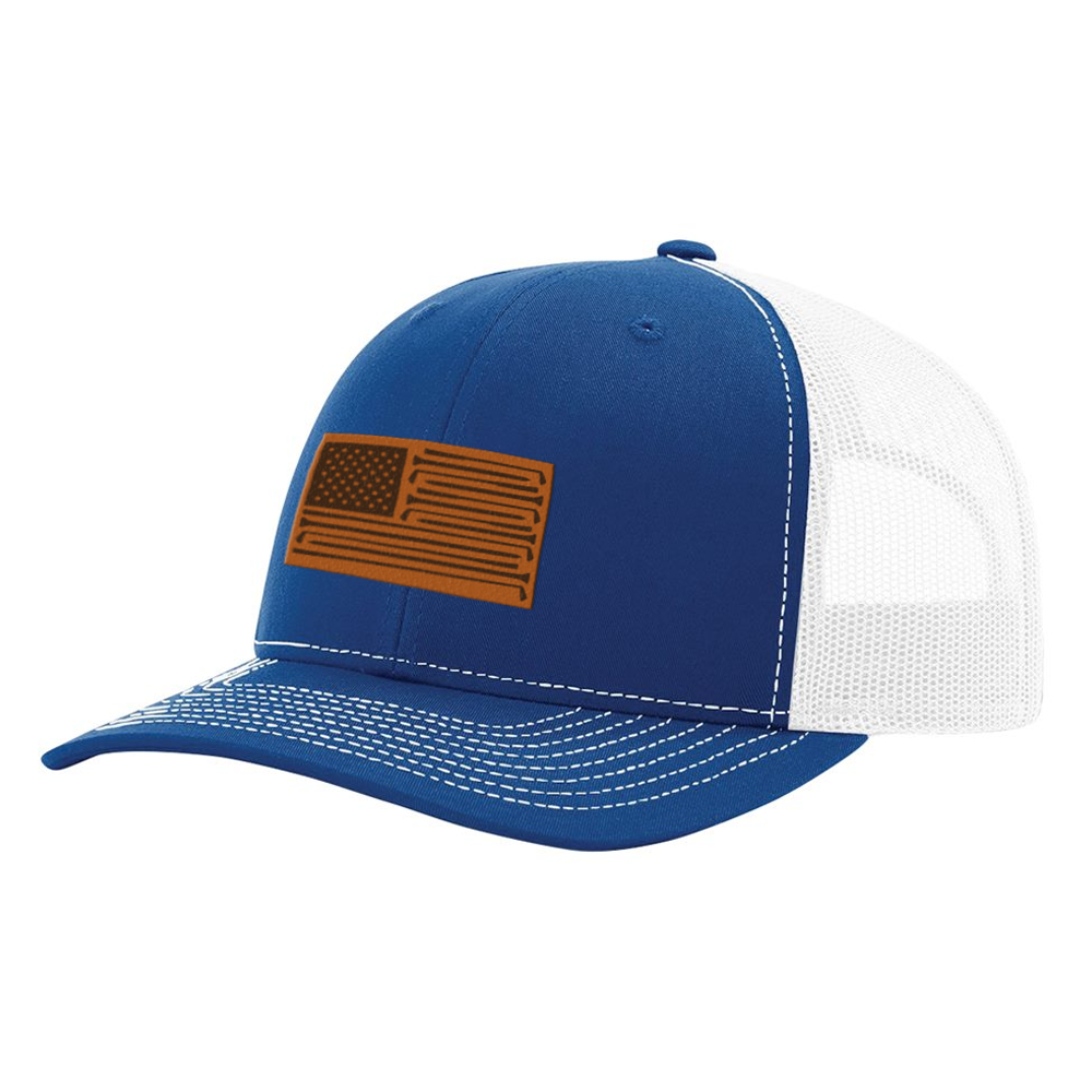 Golf Flag Patch Royal & White Hat