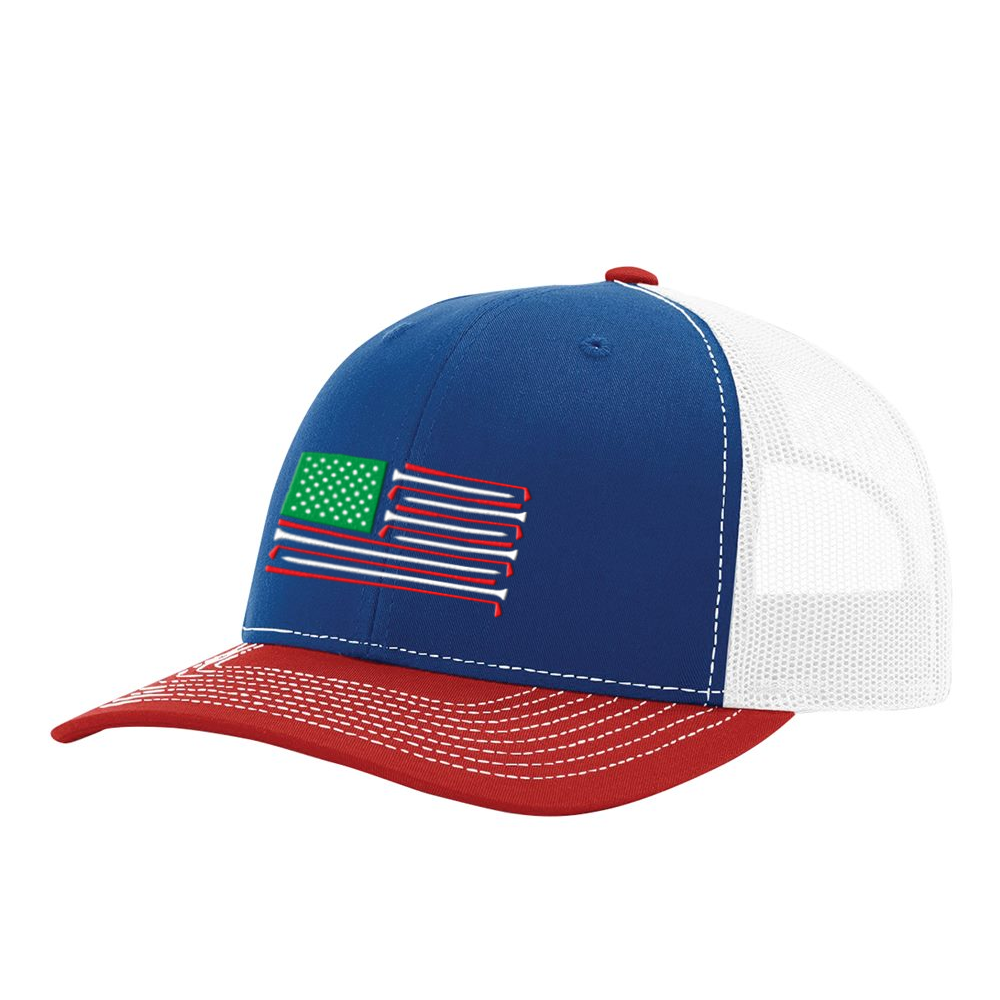 Golf Flag Red, White & Blue Hat