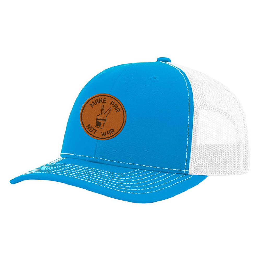 Make Par Not War Patch Cyan & White Hat