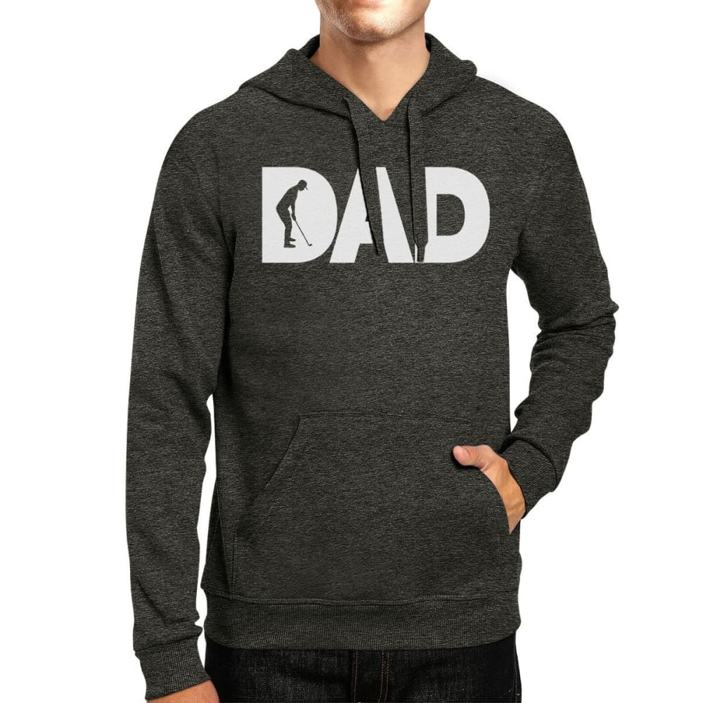 Dad Golf Gray Unisex Pullover Hoodie Fleece Golf Dads Gift Ideas - X-SMALL - Apparel & Accessories