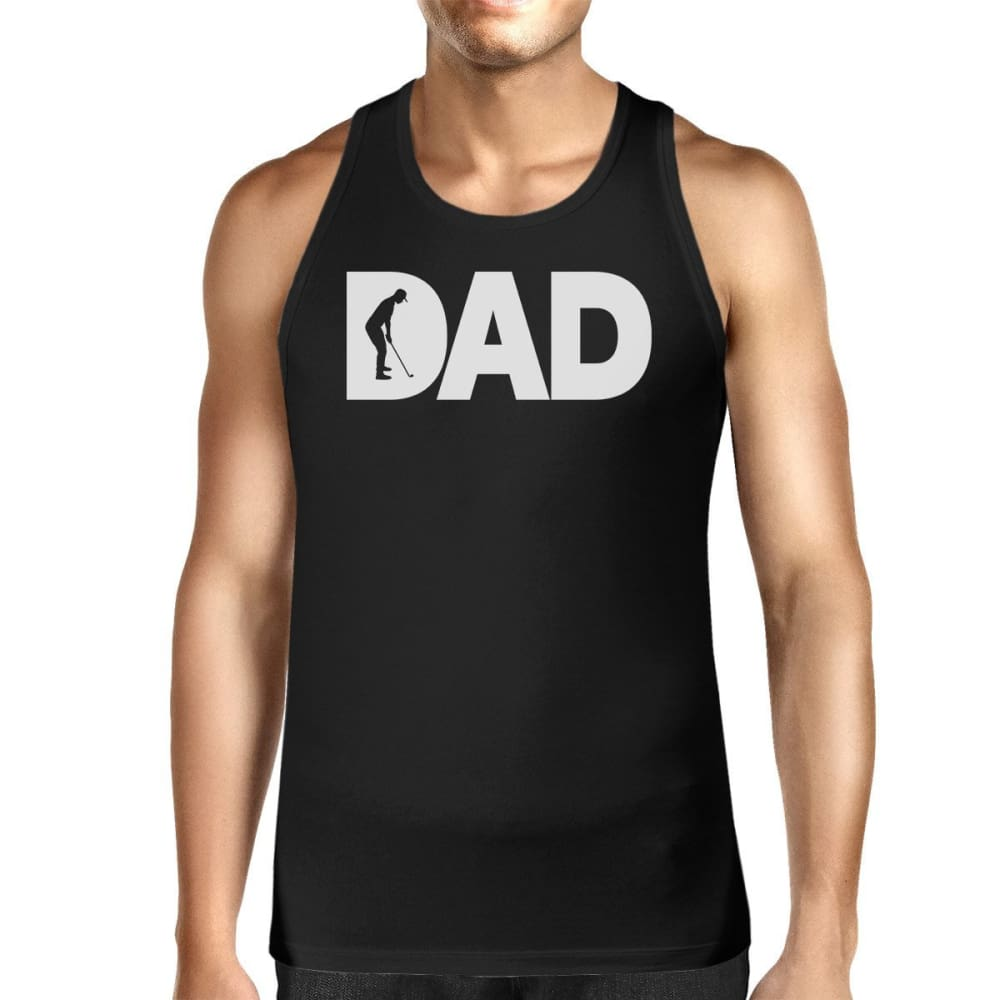 Dad Golf Mens Black Cotton Tank Top Funny Graphic Tee For Gold Dads - SMALL - Apparel & Accessories
