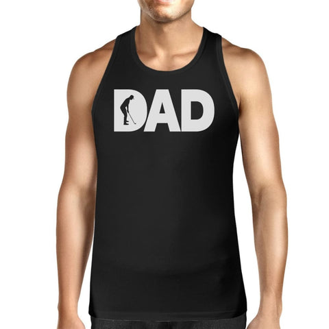 Image of Dad Golf Mens Black Cotton Tank Top Funny Graphic Tee For Gold Dads - SMALL - Apparel & Accessories