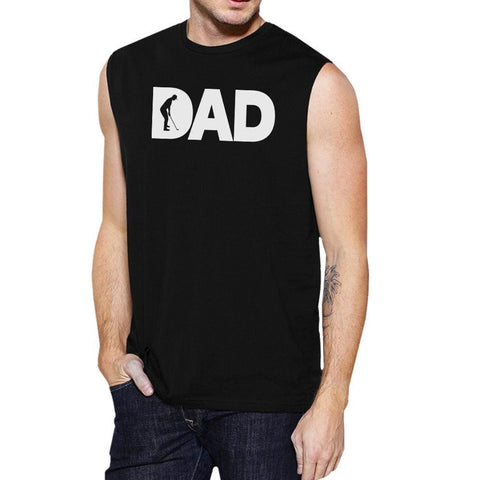 Image of Dad Golf Mens Black Fathers Day Design Muscle Tanks For Golf Dads - MEDIUM - Apparel & Accessories
