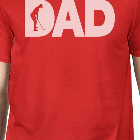 Image of Dad Golf Mens Red Cotton Graphic Tee Unique Design T-Shirt For Dad - Apparel & Accessories