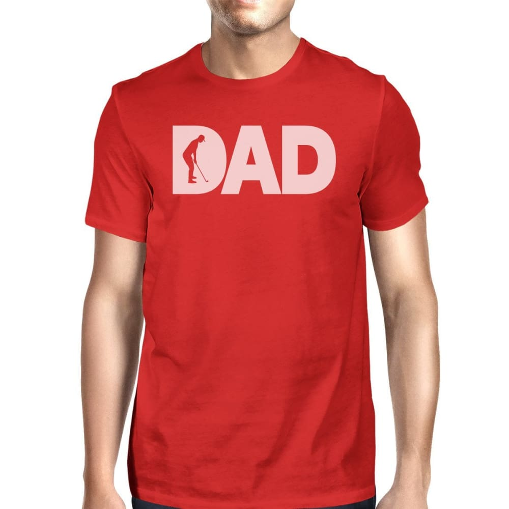 Dad Golf Mens Red Cotton Graphic Tee Unique Design T-Shirt For Dad - SMALL - Apparel & Accessories