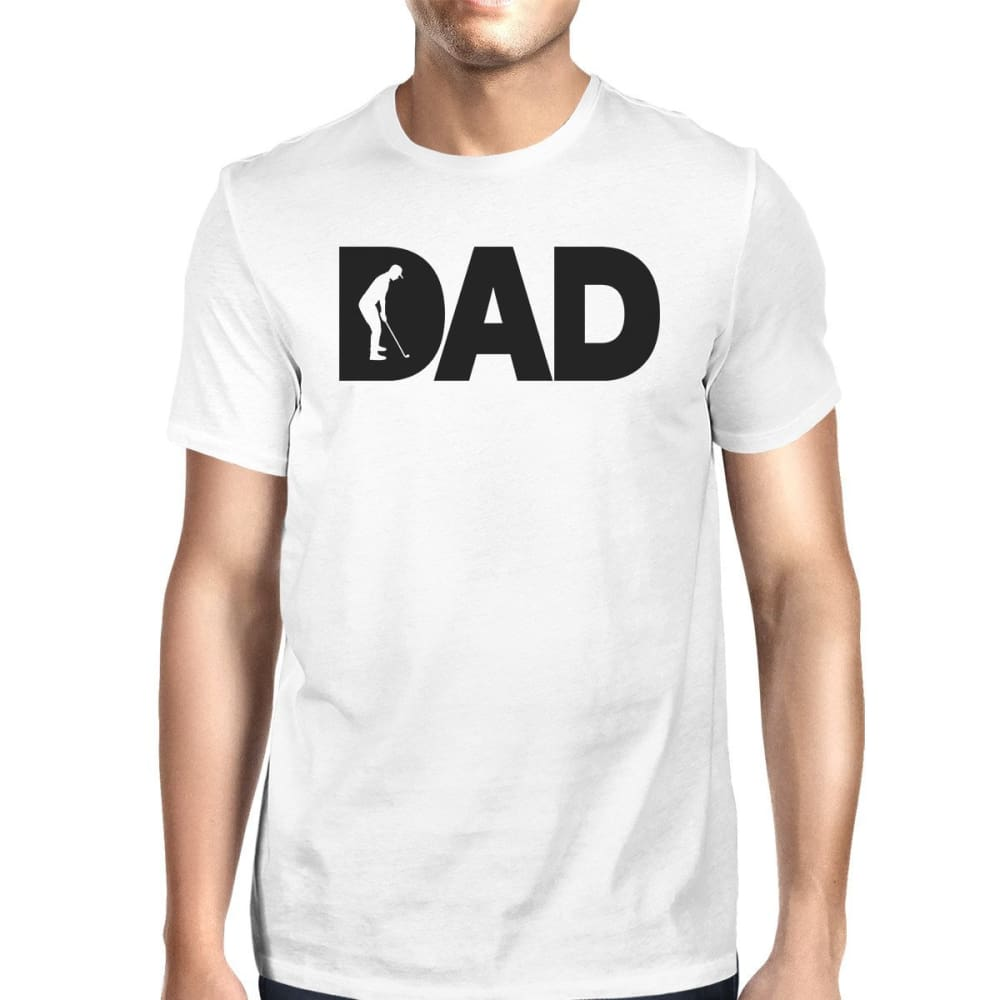 Dad Golf Mens White Cotton T-Shirt Funny Fathers Day Gifts For Him - SMALL - Apparel & Accessories