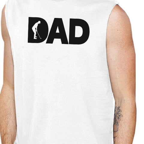 Image of Dad Golf Mens White Funny Design Muscle Top Funny Golf Dad Gifts - Apparel & Accessories